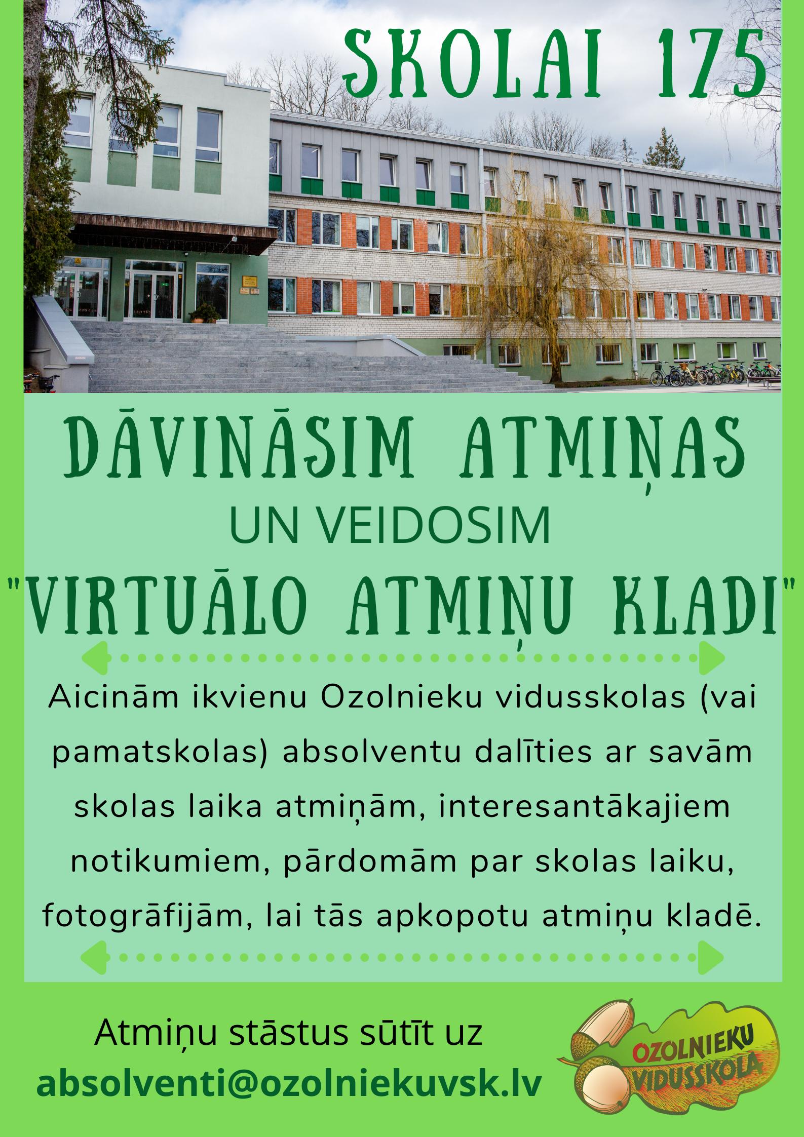 Skolas 175 dzimšanas dienas plakāts.